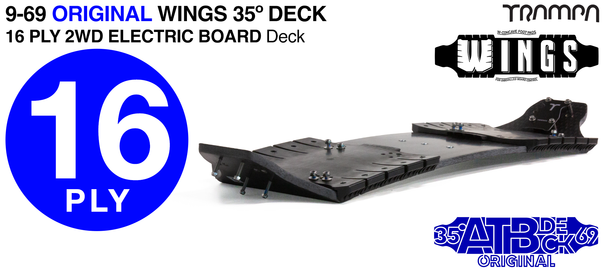 16ply 9-69 Mountainboard Deck with WINGS & 2WD Cable Router - Firm