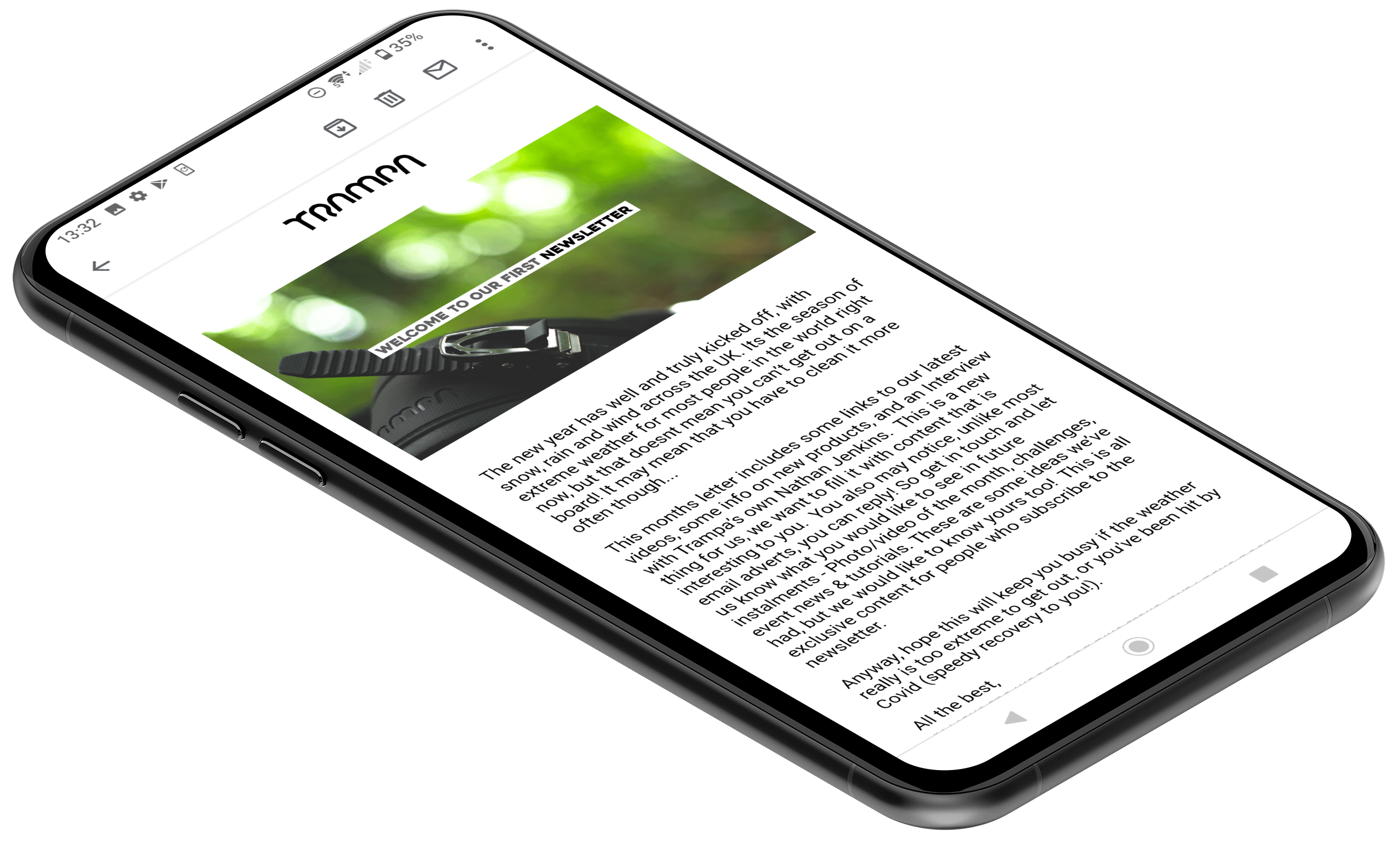 Newsletter email on phone