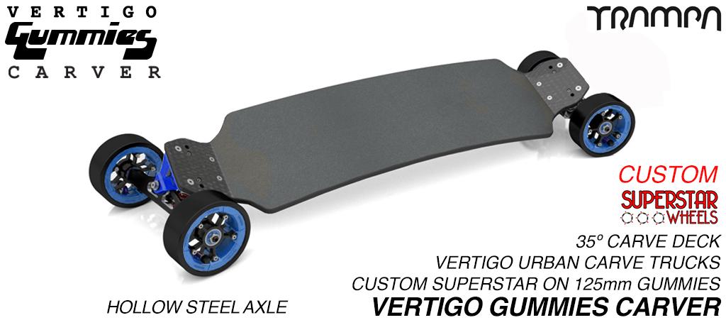 VERTIGO GUMMIES Carveboard - HOLLOW Axle CNC VERTIGO Trucks with Custom SUPERSTAR & 125mm GUMMIES longboard Tyres - WHITE