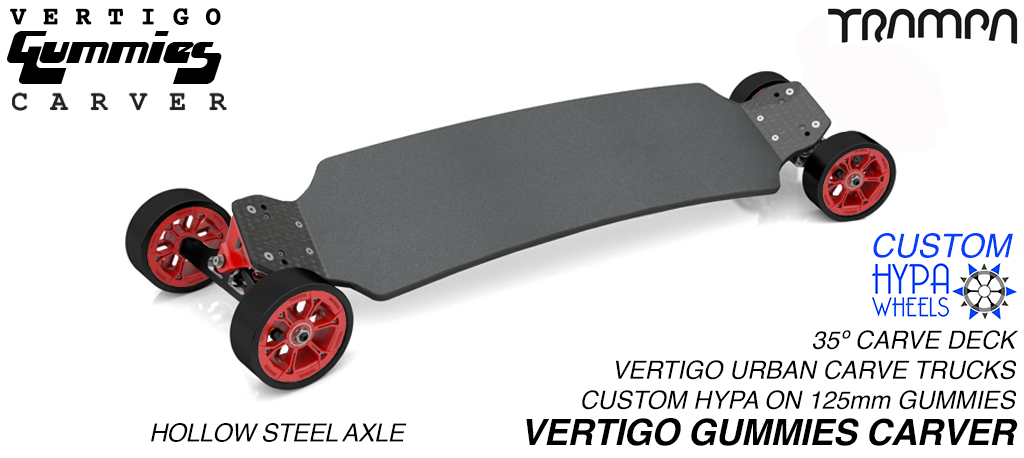 VERTIGO GUMMIES Carveboard - HOLLOW Axle CNC VERTIGO Trucks with Custom SUPERSTAR & 125mm GUMMIES longboard Tyres
