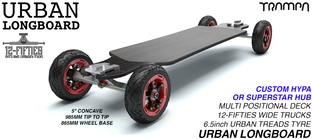 TRAMPA's ORRSOM SINGLE MOTOR Electric Longboard with 6.5 inch URBAN TREADS Tyres on HYPA or SUPERSTAR Wheels