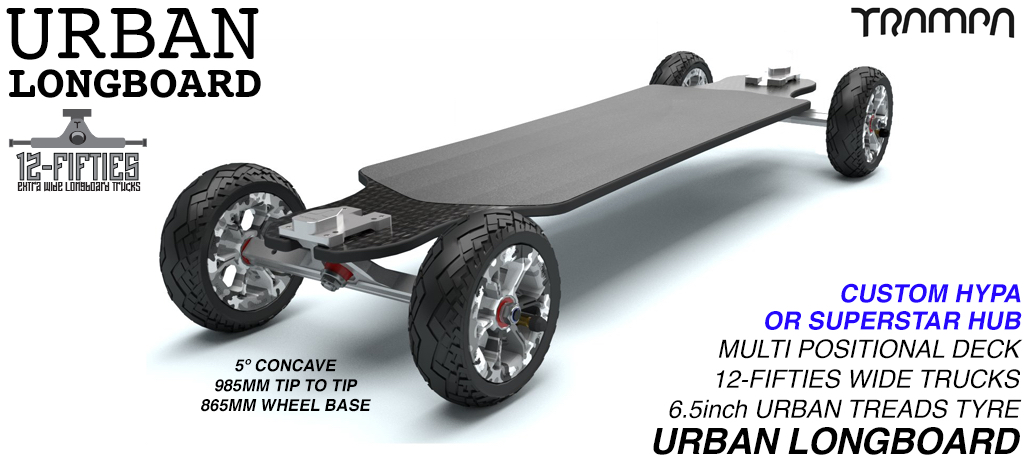 TRAMPA's Orrsum Longboard with 6.5 inch URBAN TREADS Tyres on HYPA or SUPERSTAR Wheels