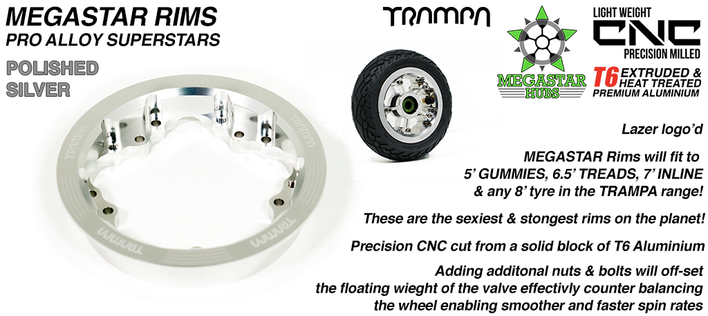 9 Inch DEEP DISH Off-Set MEGASTAR Rims - Place two on the rear of your Electric Mountainboard for extra Grip & Top Speed!