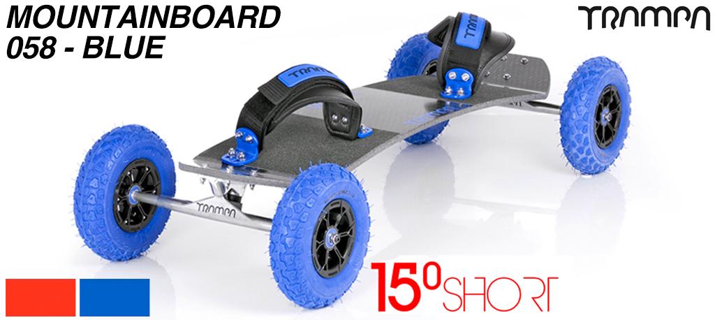 15º Short TRAMPA Deck on 10mm HOLLOW axle Skate Trucks HYPA wheels & VELCRO Bindings - 058 BLUE MOUNTAINBOARD