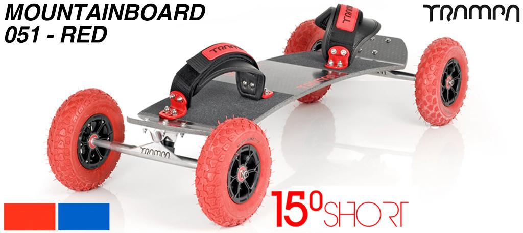15º Short TRAMPA Deck on HOLLOW axle Skate Trucks HYPA wheels & VELCRO Bindings - 051 RED MOUNTAINBOARD