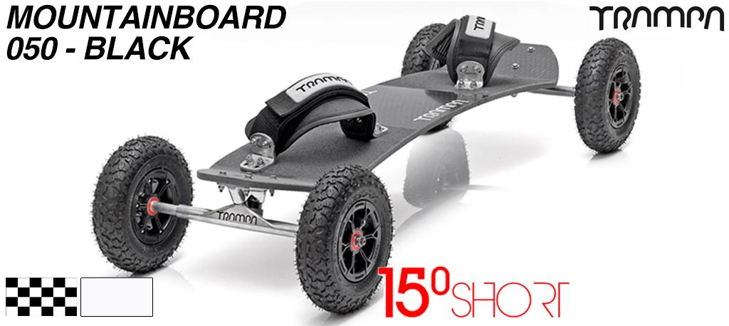 15º Short TRAMPA Deck on 10mm Hollow axle Skate Trucks HYPA wheels & VELCRO Bindings - 050 BLACK MOUNTAINBOARD