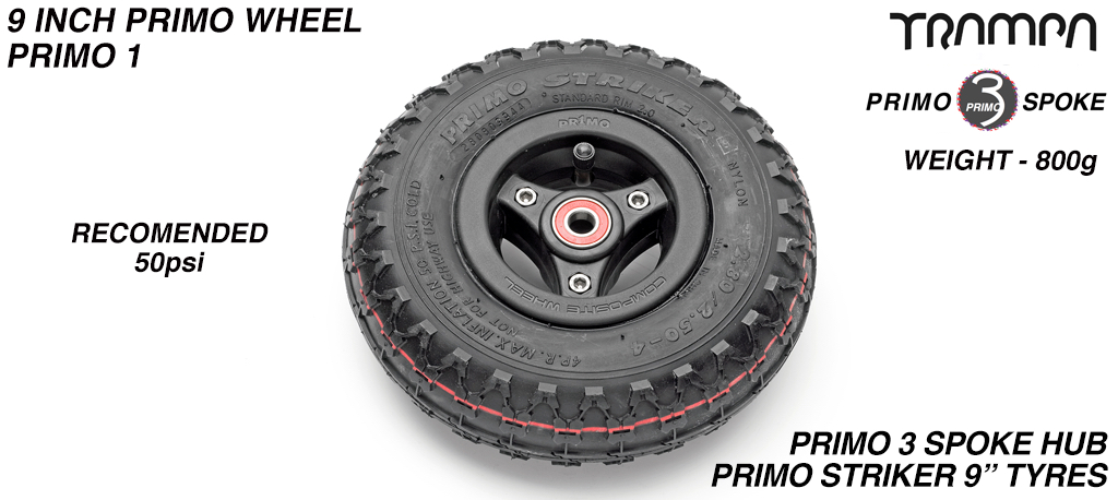 9 inch Wheel - Black 3 Spoke Primo Hub & Black 9 inch Primo Striker Tyre