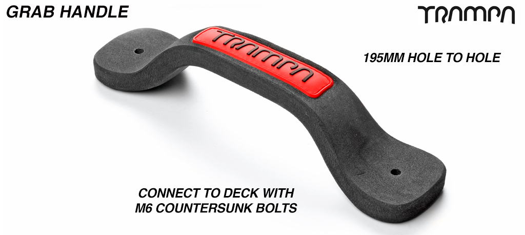 Grab Handle - Red patch with Black TRAMPA logo