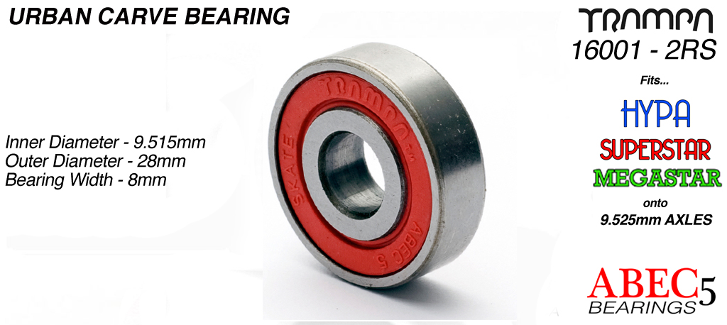 URBAN CARVER ABEC 5 Bearings 16001 2RS (9.525 x 28 x 8mm) RED Sidewalls with Embossed Logo
