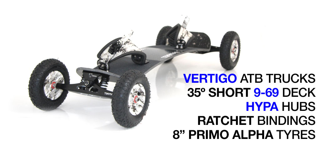 Mountainboard - 35� Short Deck On VERTIGO Trucks With 8 Inch SUPERSTAR Wheels & RATCHET Bindings - WINTER CAMMO