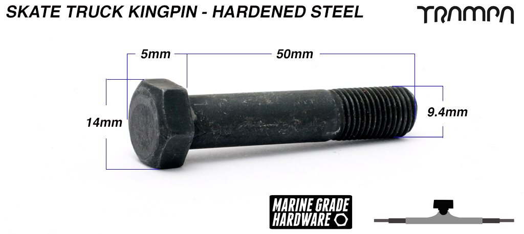 HARDENED STEEL Skate Truck Kingpin - 50mm