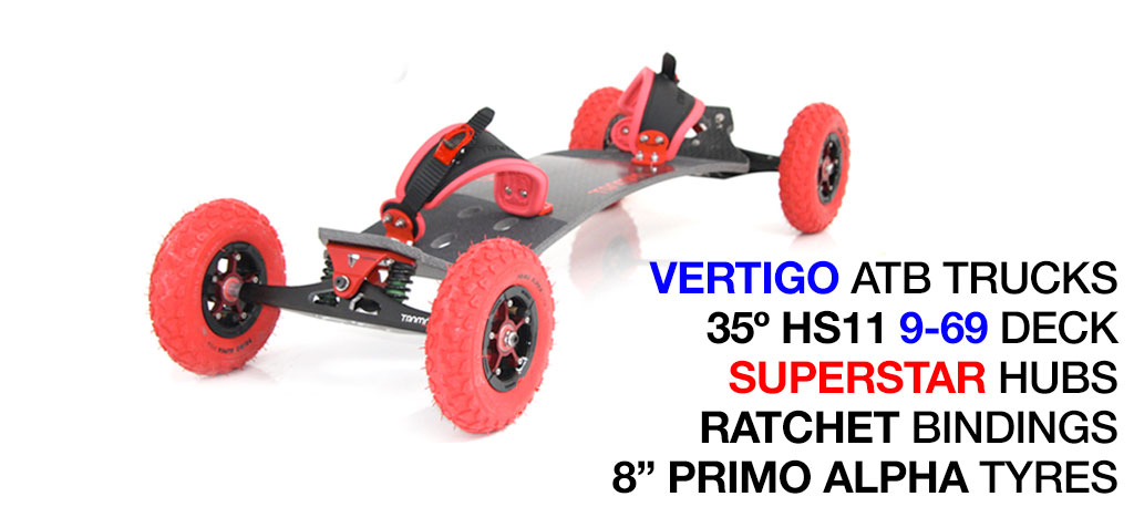 35º HOLYPRO TRAMPA deck on VERTIGO Trucks SUPERSTAR Wheels & RATCHET Bindings - 714 RED MOUNTAINBOARD