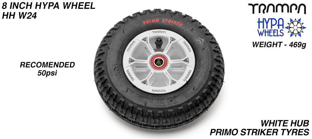 8 Inch Wheel - White & Black logo Hypa Hub with Black Striker 8 Inch Tyre