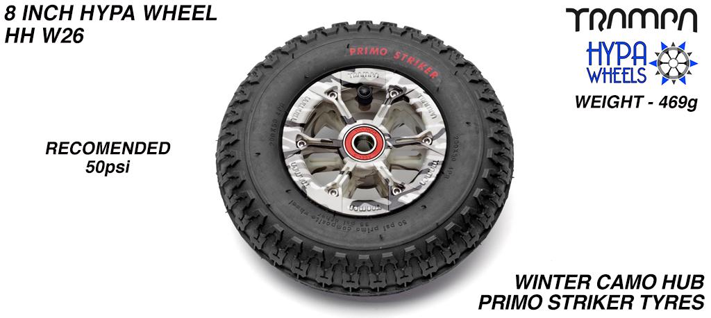 8 Inch Wheel - Winter Cammo Hypa hub with Black Striker 8 Inch Tyre