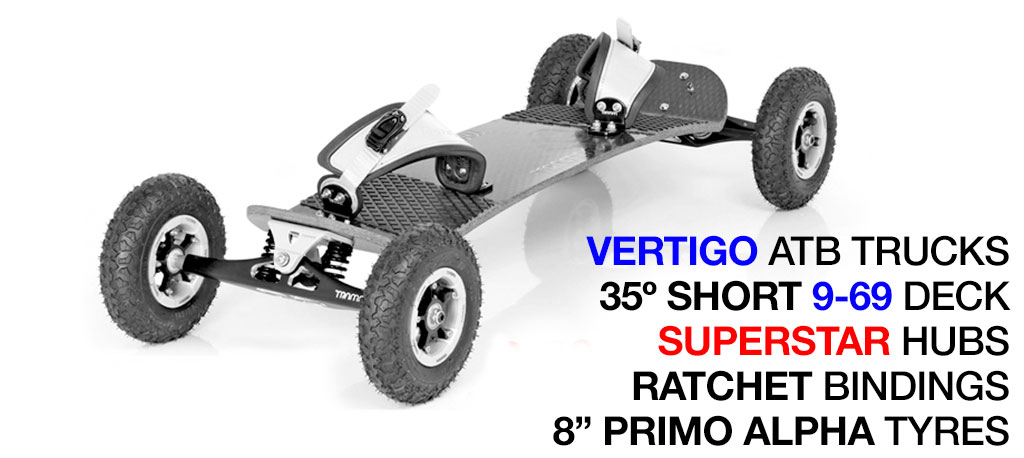 35º Short TRAMPA deck on VERTIGO Trucks SUPERSTAR Wheels & RATCHET Bindings - 527 WHITE MOUNTAINBOARD