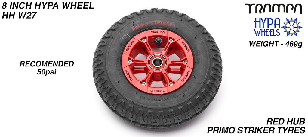 8 Inch Wheel - Red & Black Logo Hypa Hub with Black Striker 8 Inch Tyre