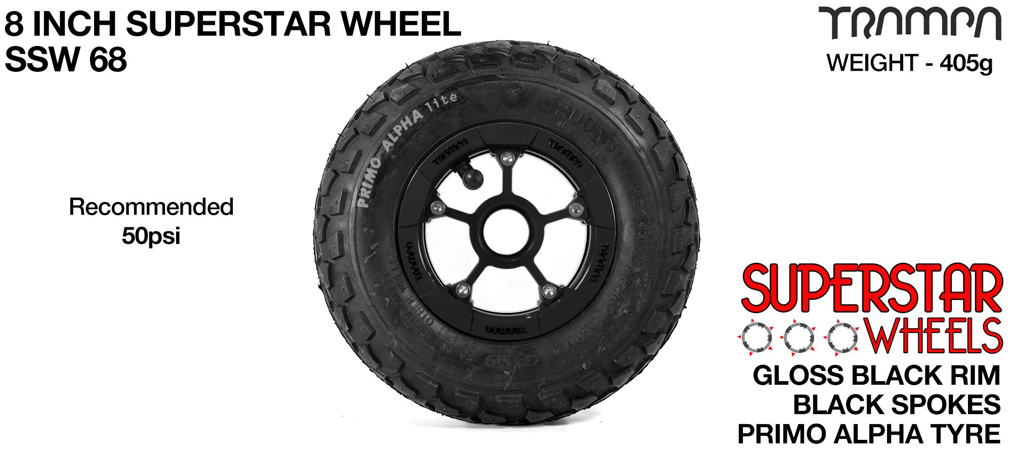 Superstar 8 inch wheel - Black Gloss Rim with Black Anodised spokes & Black Alpha 8 Inch Tyres