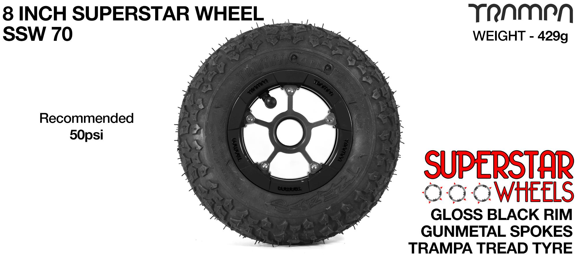 Superstar 8 inch wheel - Black Gloss Rim with Gunmetal Anodised spokes & TRAMPA TREAD 8 Inch Tyres