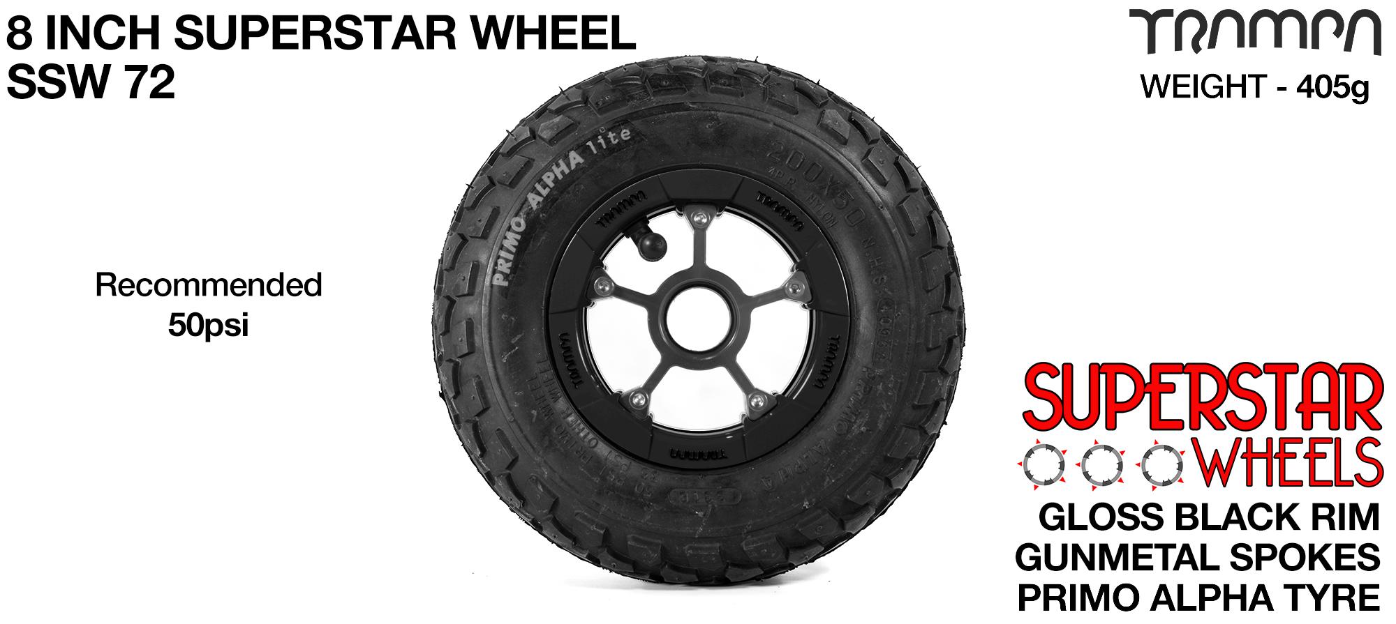 Superstar 8 inch wheel - Black Gloss Rim with Gunmetal Anodised spokes & Black Alpha 8 Inch Tyre