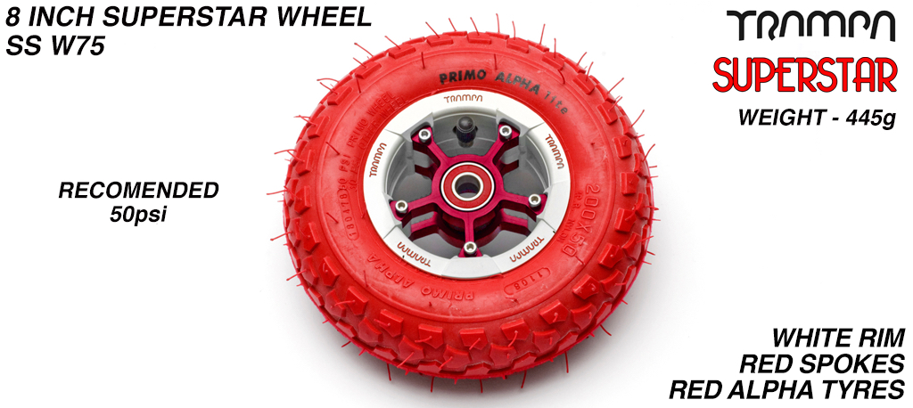 Superstar 8 inch wheel - White Gloss & Red logo Rim with Red Anodised Spokes & Red Alpha 8 Inch Tyre