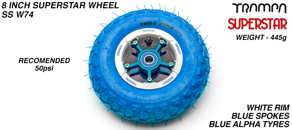 Superstar 8 inch wheel - White Gloss & Blue logo Rim with Blue Anodised Spokes & Blue Alpha 8 Inch Tyre