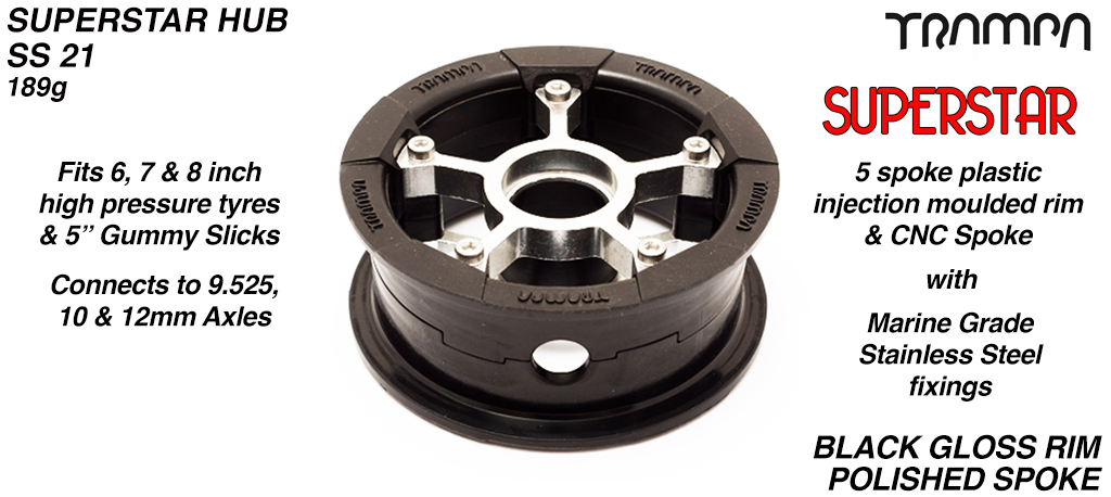 Superstar Hub - Black Gloss Rim with Silver anodised Spokes