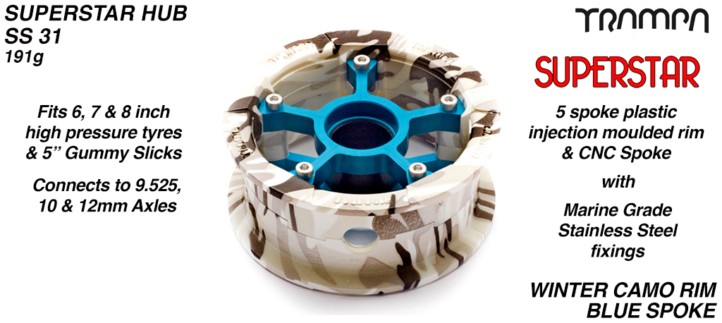 Superstar Hub - Winter Camo Rim with Blue anodised spokes