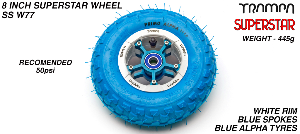 Superstar 8 inch wheel - White Gloss & Black logo Rim with Blue Anodised Spokes & Blue Alpha 8 Inch Tyre