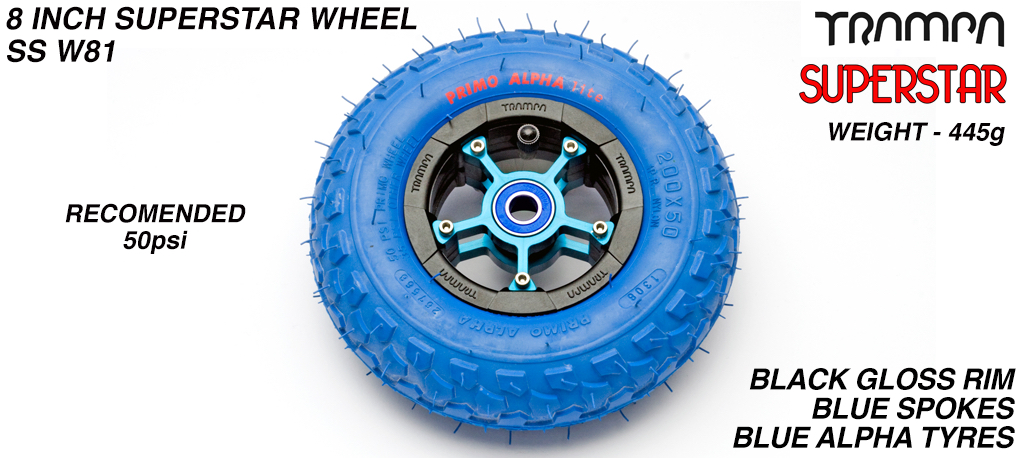 Superstar 8 inch wheel - Black Gloss Rim Blue Spokes Anodised & Blue Alpha 8 Inch Tyre