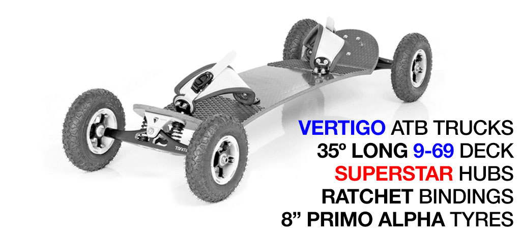35º Long TRAMPA deck on VERTIGO Trucks SUPERSTAR Wheels & RATCHET Bindings - 528 WHITE MOUNTAINBOARD