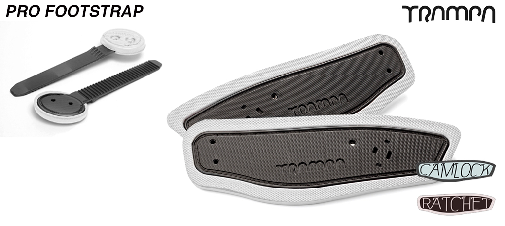 Ratchet Binding foot straps - Black straps on White foam