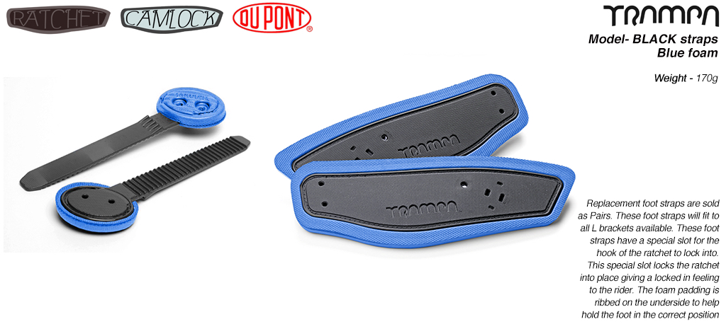 Ratchet Binding foot straps - Black straps on Blue foam