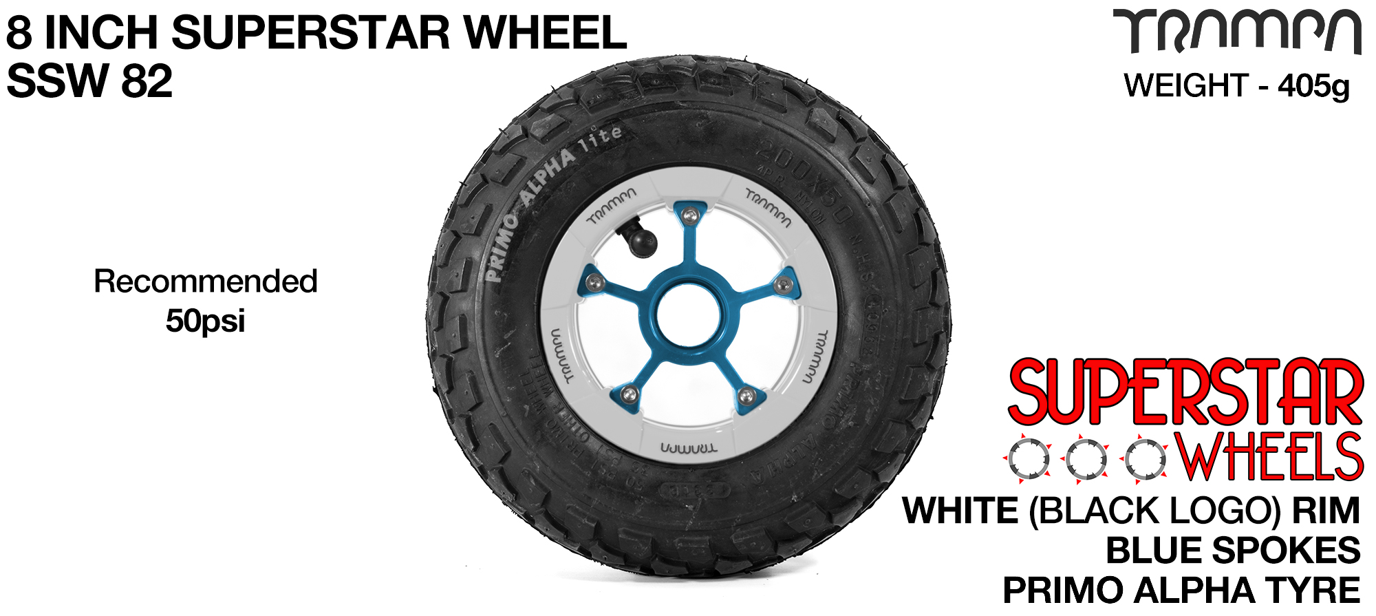 Superstar 8 inch wheel - White Gloss & Black logo Rim Blue Anodised Spokes & Black Alpha 8 Inch Tyre