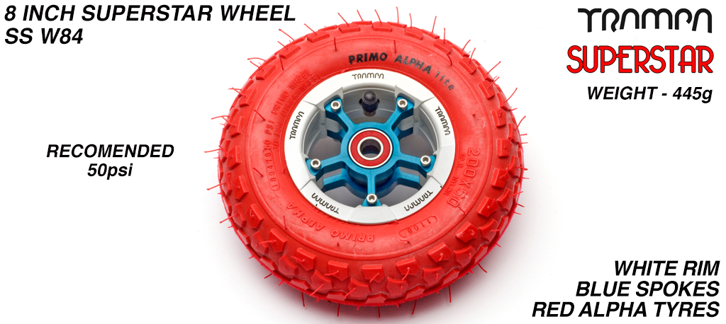 Superstar 8 inch wheel - White Gloss & Black logo Rim Blue Anodised Spokes & Red Alpha 8 Inch Tyre