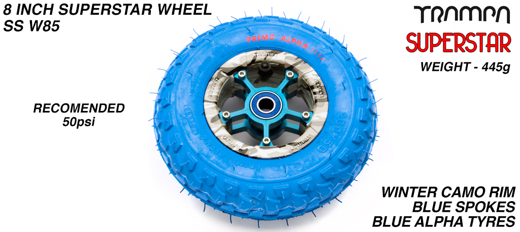 Superstar 8 inch wheel - Winter Camo rim with Blue Anodised Spokes & Blue Alpha 8 Inch Tyre