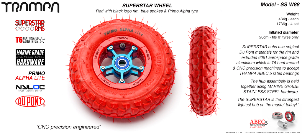 Superstar 8 inch wheel - Red Gloss & Black logo rim  Blue Anodised Spokes & Red Alpha 8 Inch Tyre