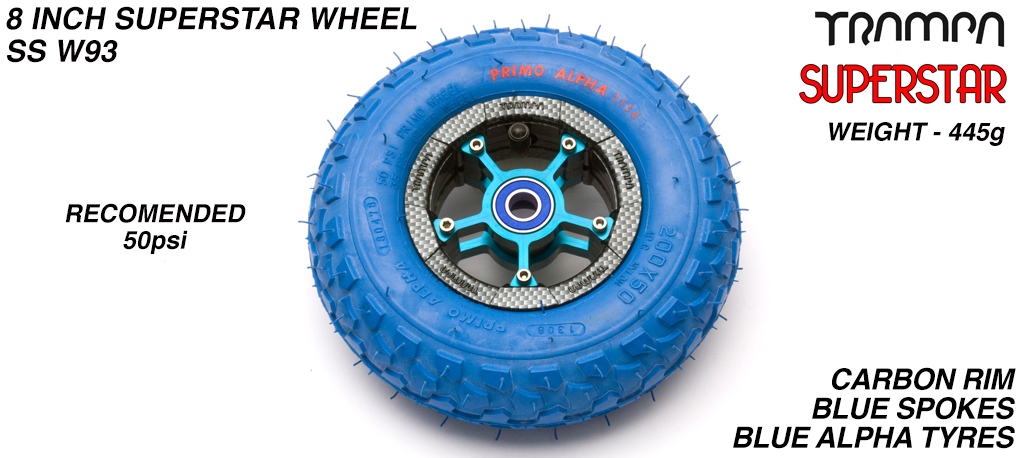 Superstar 8 inch wheel - Carbon Fiber Print rim with Blue Anodised Spokes & Blue Alpha 8 Inch Tyre