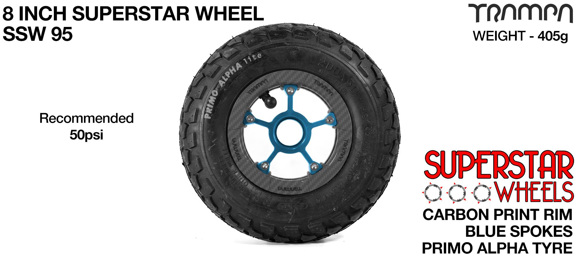 Superstar 8 inch wheel - Carbon Fiber Print rim with Blue Anodised Spokes & Black Alpha 8 Inch Tyre