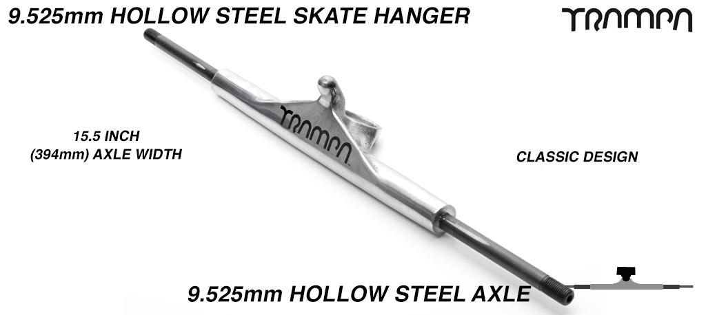 9.525mm TITANIUM AXLE TRAMPA Skate Truck Hanger - POLISHED & BLACK TRAMPA Logo