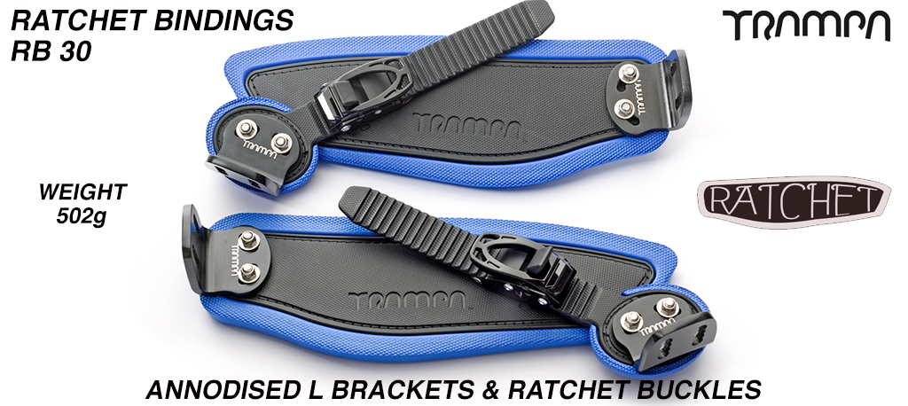 Ratchet Bindings - Black Straps on Blue Foam with Black L Brackets & Ratchets