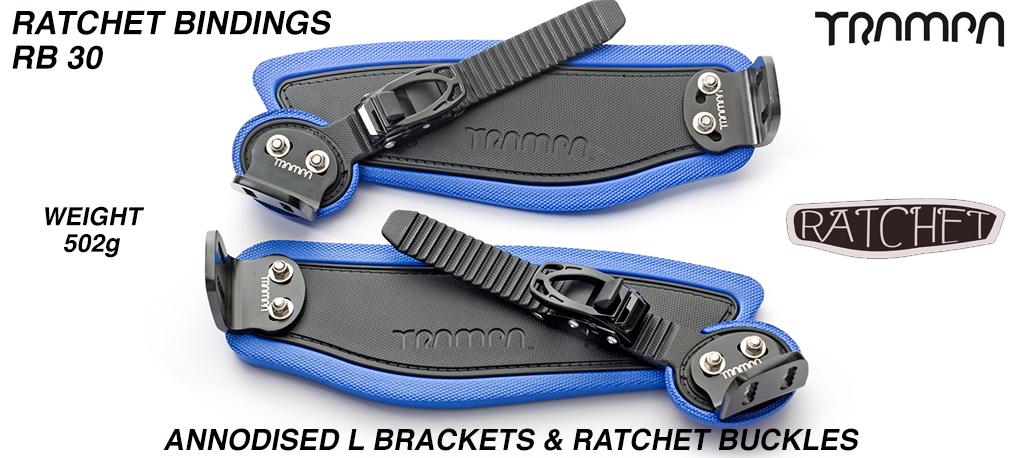 Ratchet Bindings - Black Straps on Blue Foam with Black L Brackets & Ratchets