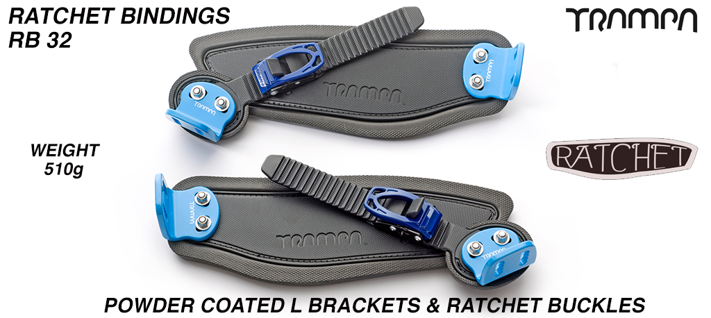 Ratchet Bindings - Black straps on Black Foam with Blue L Brackets & Ratchets
