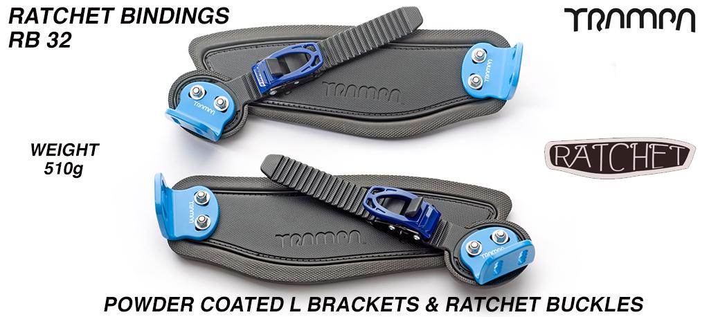 Ratchet Bindings - Black straps on Black Foam with Blue L Brackets & Ratchets