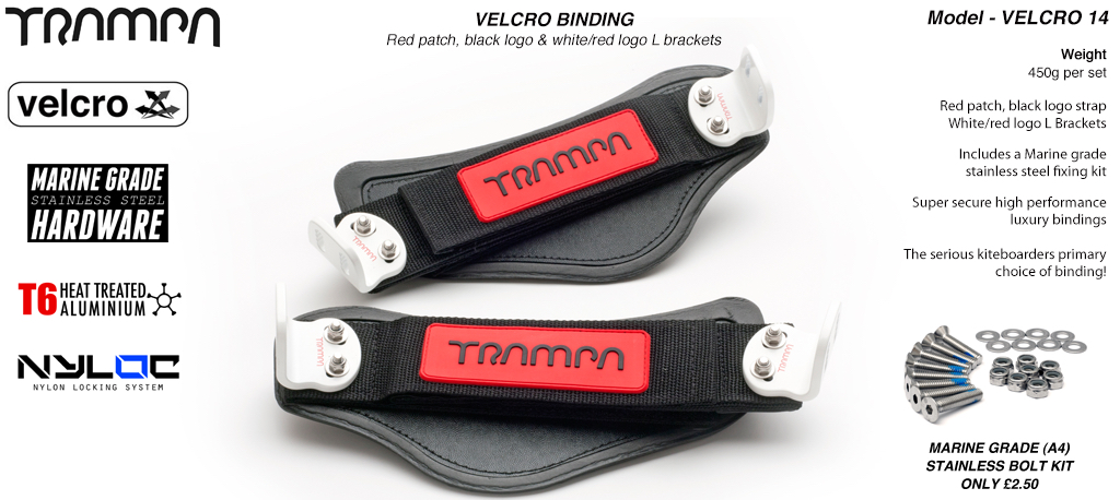 Nylon Hook Bindings - Red patch with Black logo Nylon Hook straps with White L Brackets