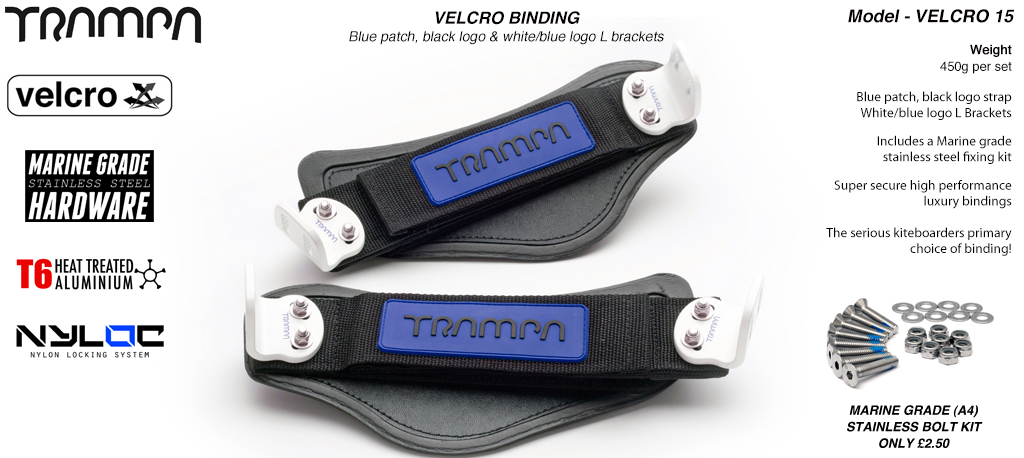 Nylon Hook Bindings - Blue patch with Black logo Nylon Hook straps with White L Brackets
