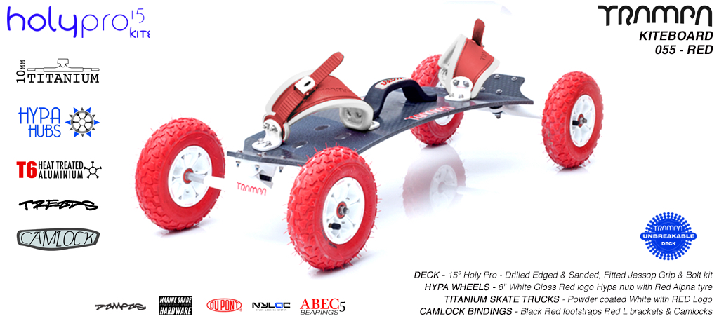 15° HOLYPRO TRAMPA Deck on 10mm TITAINIUM Axel Skate Trucks HYPA Wheels & CAMLOCK Bindings - 055 RED KITEBOARD