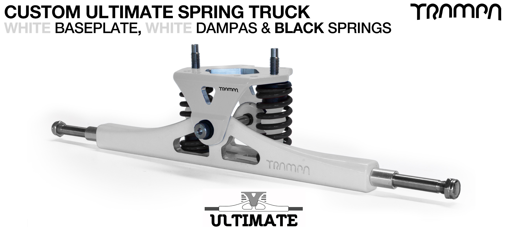 ULTIMATE Truck - WHITE & BLACK logo Baseplate on White TITANIUM Axles & Kingpin