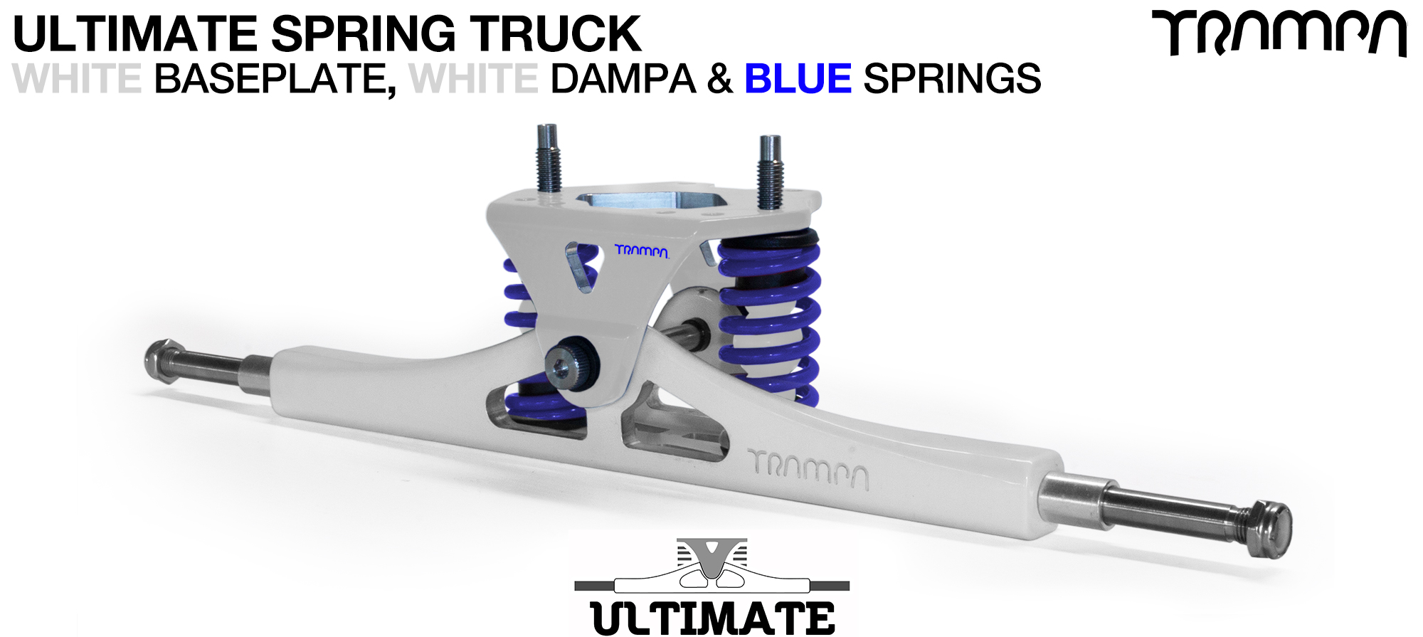 ULTIMATE Truck - WHITE & BLUE logo Baseplate on White TITANIUM Axles & Kingpin