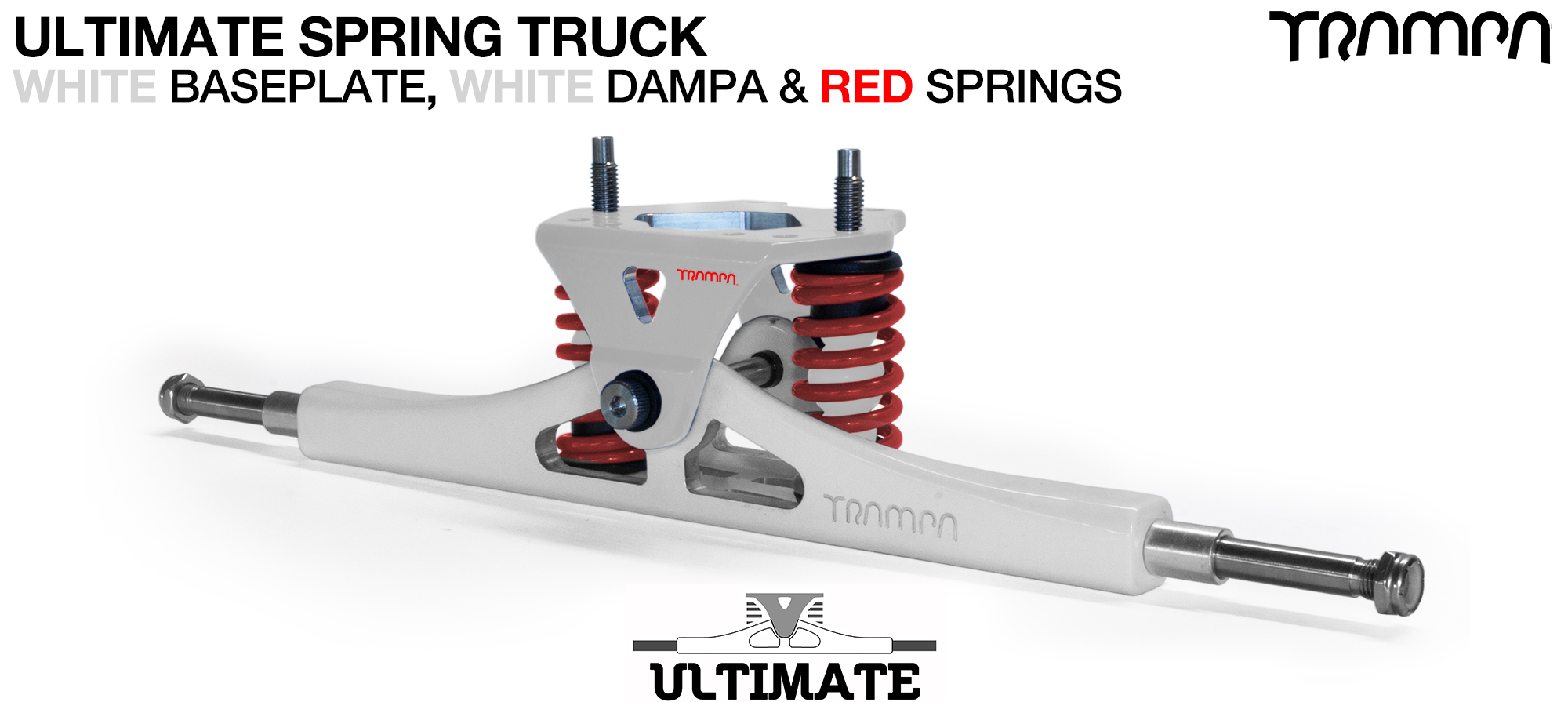 ULTIMATE Truck - WHITE & RED logo Baseplate on White TITANIUM Axles & Kingpin