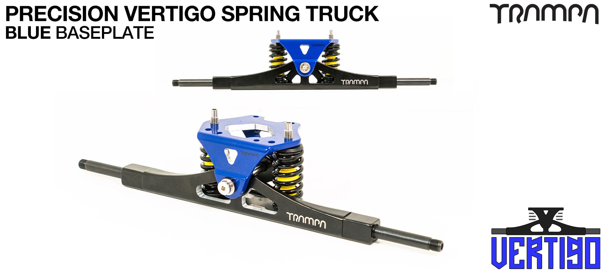 PRECISION CNC VERTIGO Truck Powder-Coated NAVY - 12mm Hollow Axles with BLUE CNC baseplate & Steel Kingpin